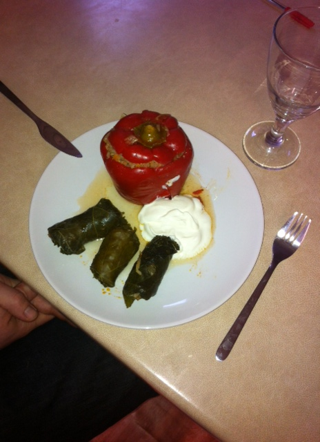 Romanian sarmale and stuffed pepper served with sour cream by Chef Larisa <3